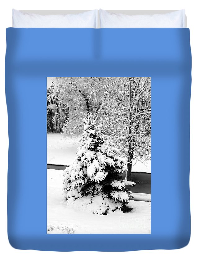 Snow Duvet Cover featuring the photograph Snow Covered Trees by Kathleen Struckle