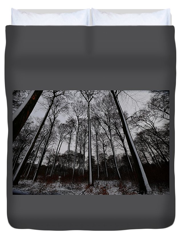 Snow Duvet Cover featuring the pyrography Snow Covered Trees by Philipp Kuernsteiner