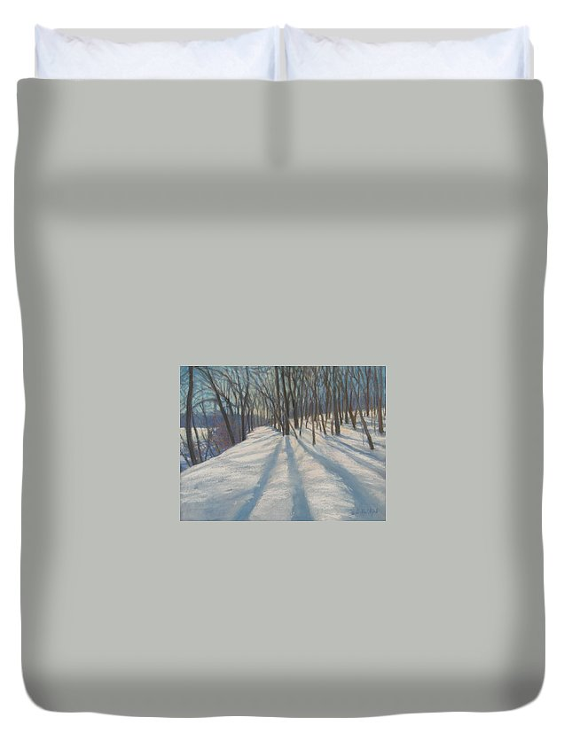Mcgrath Duvet Cover featuring the painting Snow Day At Winnekini by Leslie Alfred McGrath