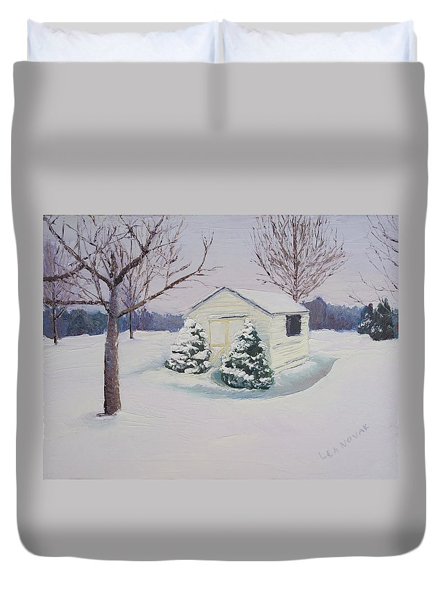 Snow Scene Duvet Cover featuring the painting Snow Drifts by Lea Novak