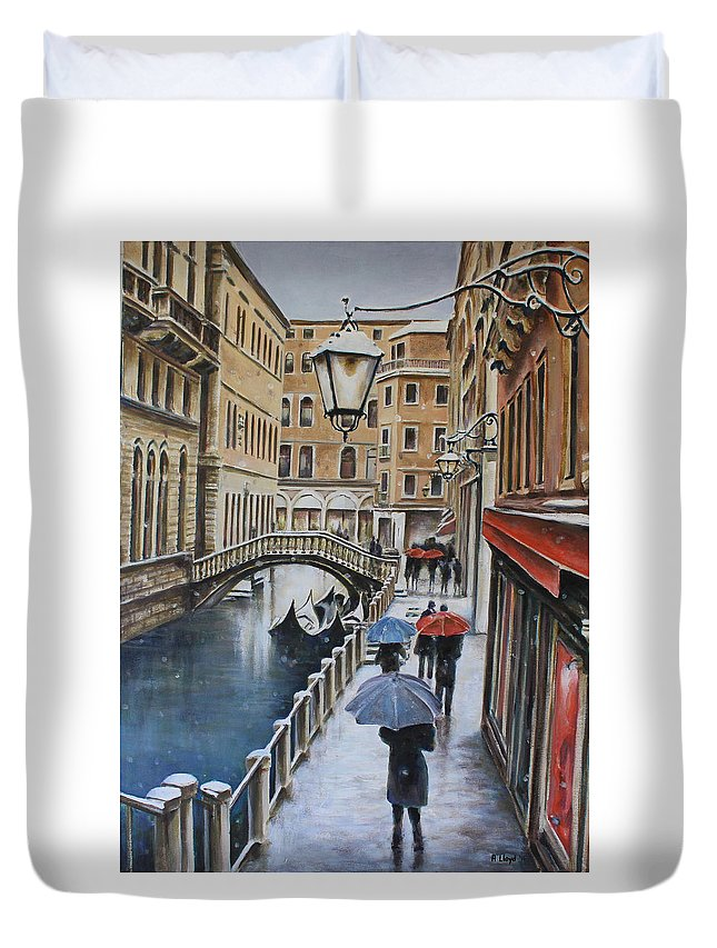 Venice Snow Painting Acrylic Umbrellas Lamp Bridge Gondola Duvet Cover featuring the painting Snow Flurry In Venice by Andy Lloyd