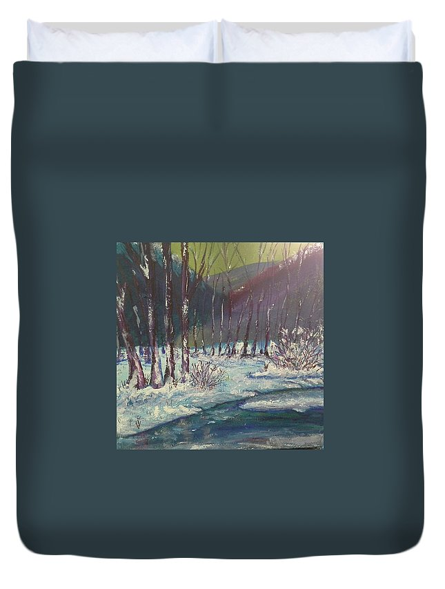 Trees Duvet Cover featuring the painting Snow Forest by Sharon Davis