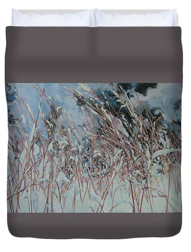 Snow Duvet Cover featuring the painting Snow Grass Happiness by MaryAnn Ead