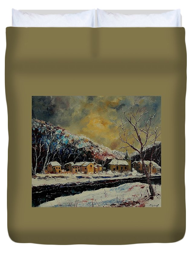 Winter Duvet Cover featuring the painting Snow In Bohan by Pol Ledent