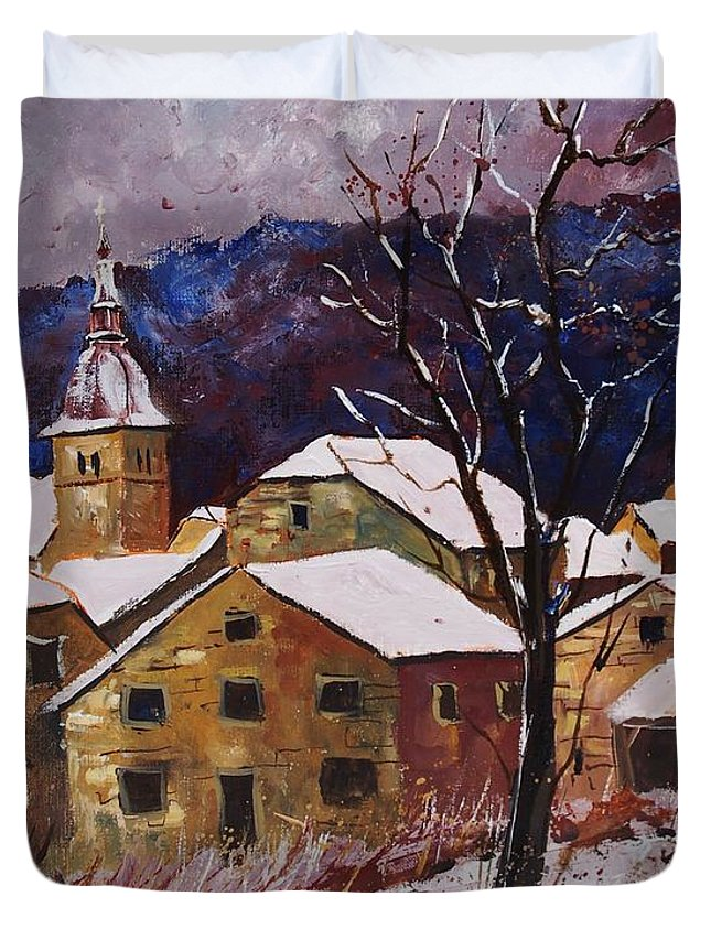 Landscape Duvet Cover featuring the painting Snow in Chassepierre by Pol Ledent