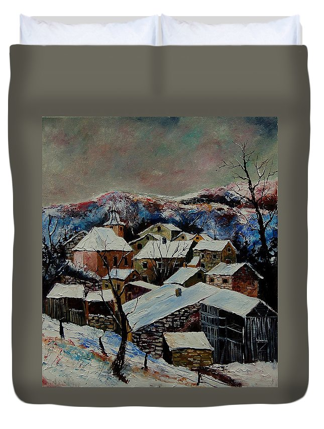 Winter Duvet Cover featuring the painting Snow In Laforet 78 by Pol Ledent