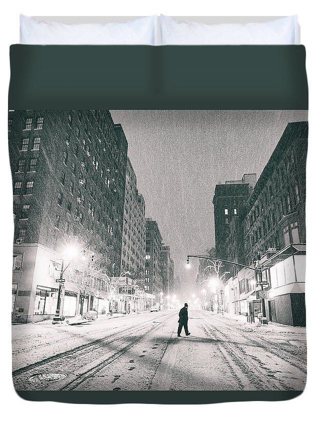 Nyc Duvet Cover featuring the photograph Snow In New York City by Vivienne Gucwa