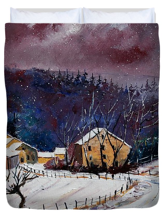 Landscape Duvet Cover featuring the painting Snow In Sechery by Pol Ledent