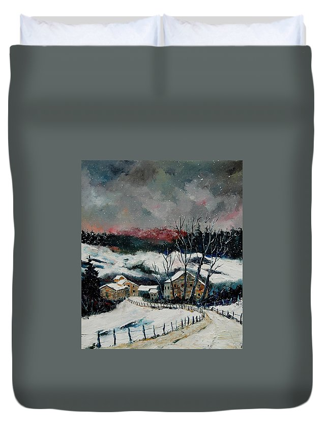 Winter Duvet Cover featuring the painting Snow In Sechery Redu by Pol Ledent