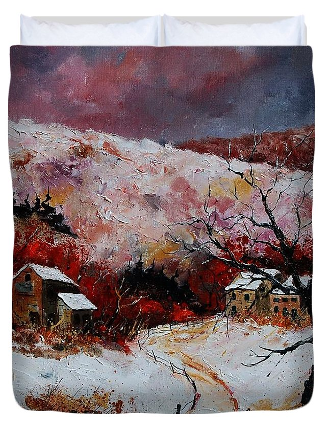 Snow Duvet Cover featuring the painting Snow In The Ardennes 78 by Pol Ledent