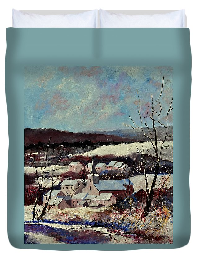 Snow Duvet Cover featuring the painting Snow in Vittrival by Pol Ledent