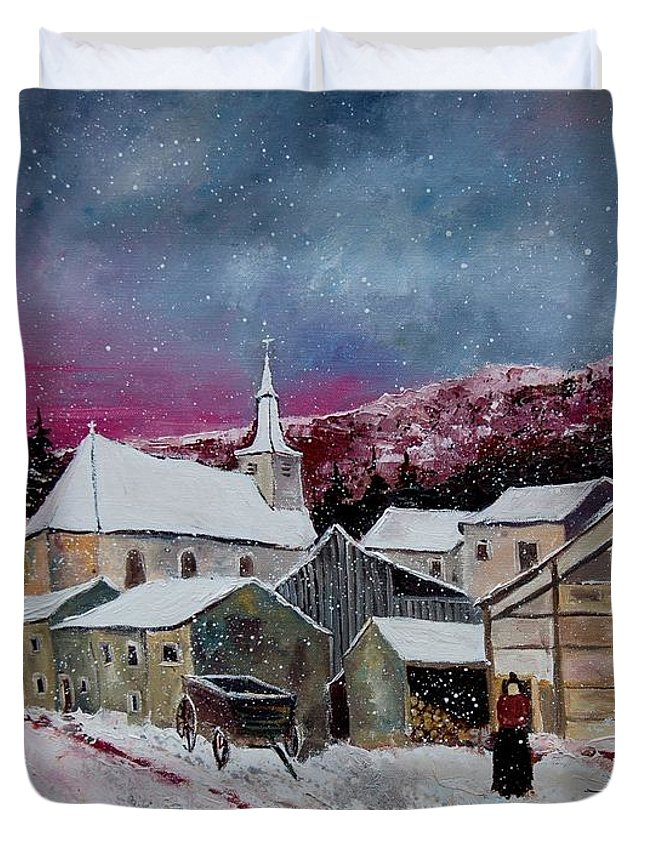 Snow Duvet Cover featuring the painting Snow Is Falling by Pol Ledent