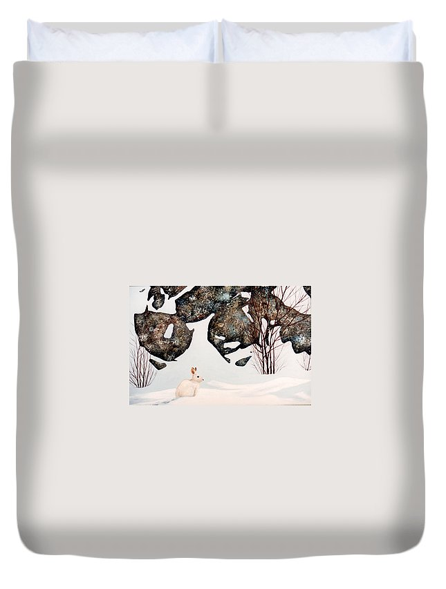 Wildlife Duvet Cover featuring the painting Snow Ledges Rabbit by Frank Wilson