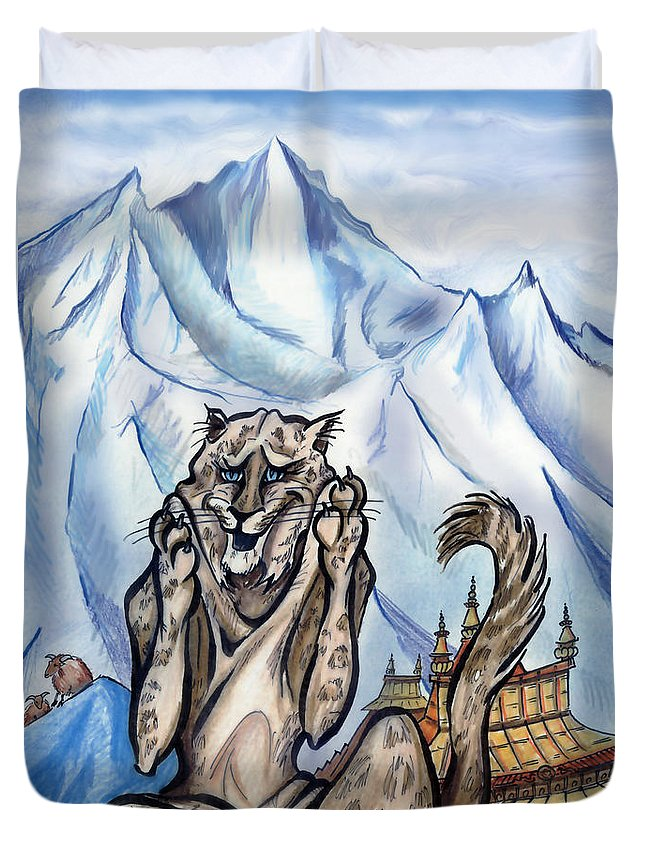 Ice Duvet Cover featuring the painting Snow Leopard by Kevin Middleton