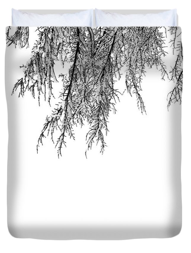 Black And White Duvet Cover featuring the photograph Snow On The Branches Three by Lyle Crump