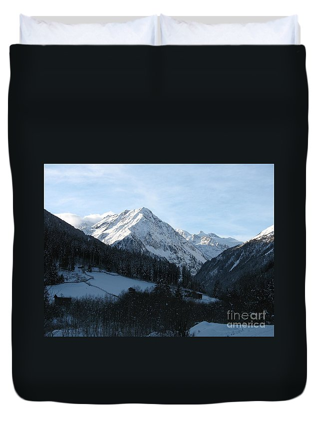 Snow Duvet Cover featuring the photograph Snow On The Mountains by Christiane Schulze Art And Photography
