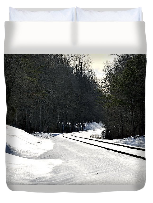 Train Tracks Duvet Cover featuring the photograph Snow On Tracks by Glenda Ward