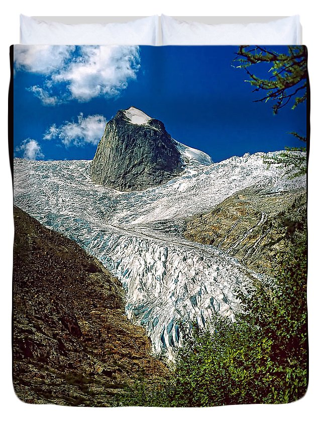 Bugaboos Duvet Cover featuring the photograph Snow Patch Spire by Steve Harrington