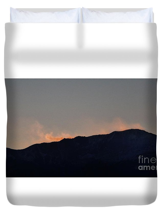 Winter Duvet Cover featuring the photograph Snow Plumes At Sunset by CL Redding