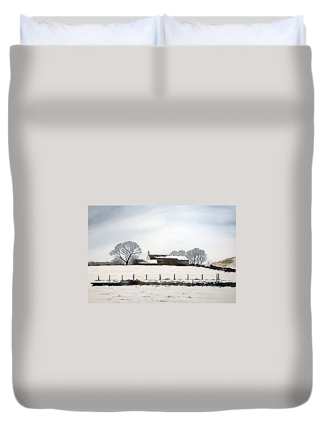 Winter Scene Duvet Cover featuring the painting Snow Scene Barkisland by Paul Dene Marlor