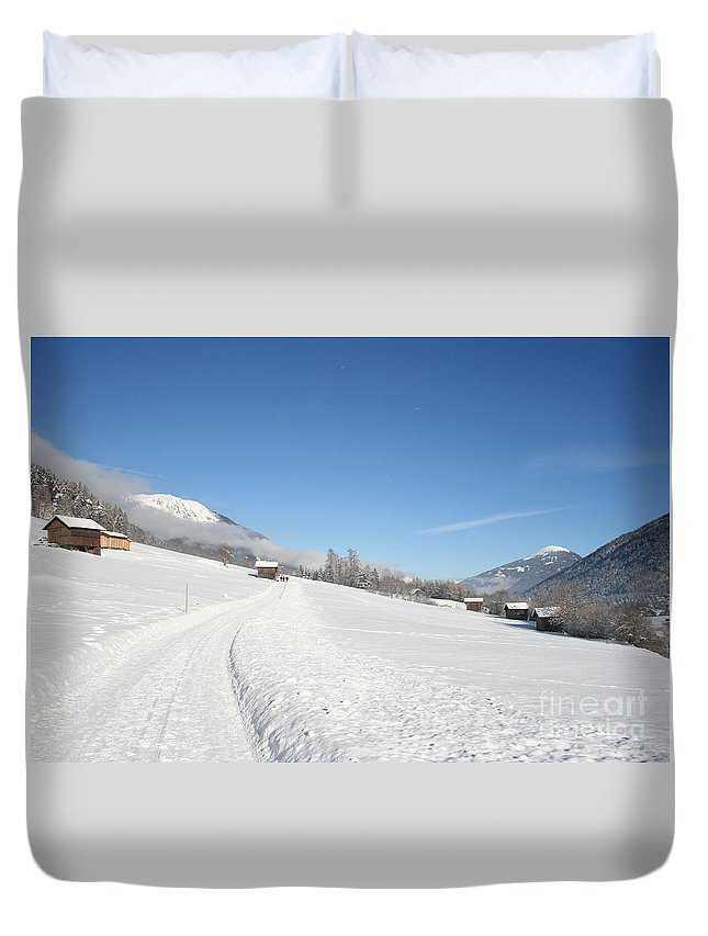Field Duvet Cover featuring the photograph Snow White Field by Christiane Schulze Art And Photography