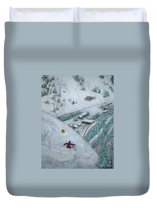 Ski Duvet Cover featuring the painting Snowbird Steeps by Michael Cuozzo
