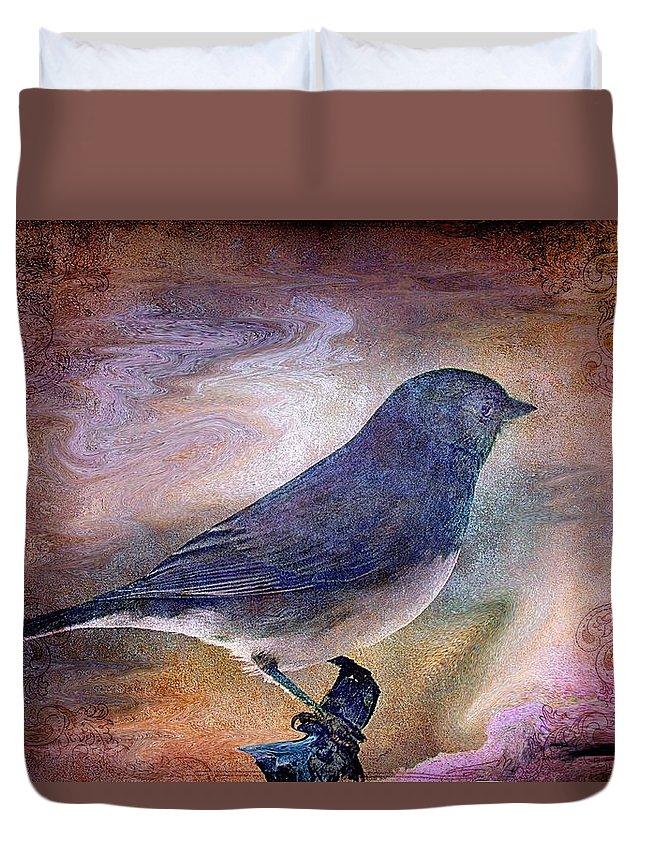 Inspirational Duvet Cover featuring the photograph Snowbird Stories... by Arthur Miller