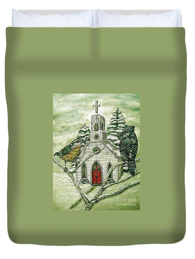 Landscape Duvet Cover featuring the painting Snowbirds Visit St. Paul by Kim Jones