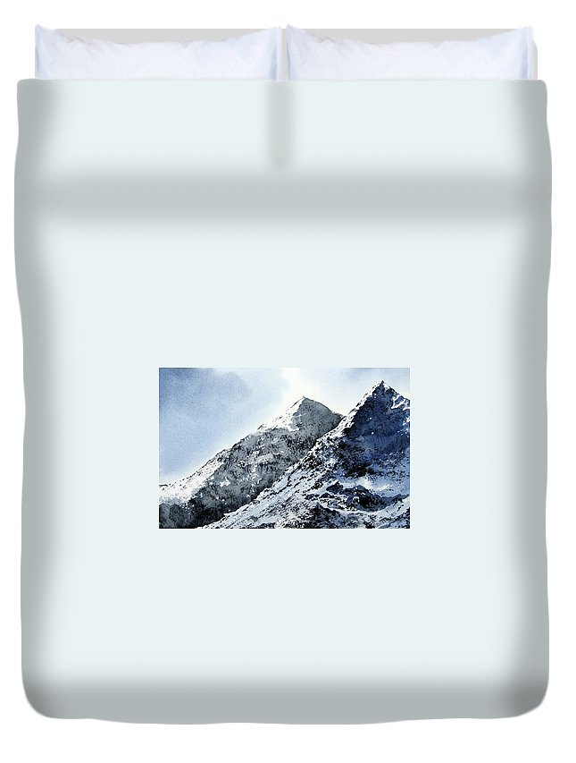 Snowdon Duvet Cover featuring the painting Snowdon by Paul Dene Marlor