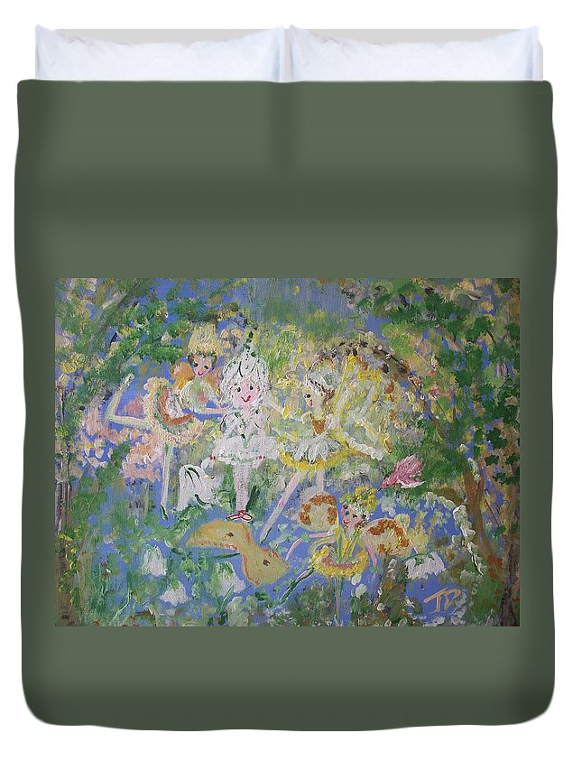 Snowdrop Duvet Cover featuring the painting Snowdrop The Fairy And Friends by Judith Desrosiers