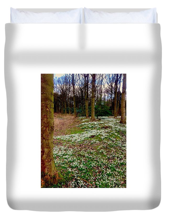 Snowdrops Duvet Cover featuring the photograph Snowdrop Woods by Joan-Violet Stretch