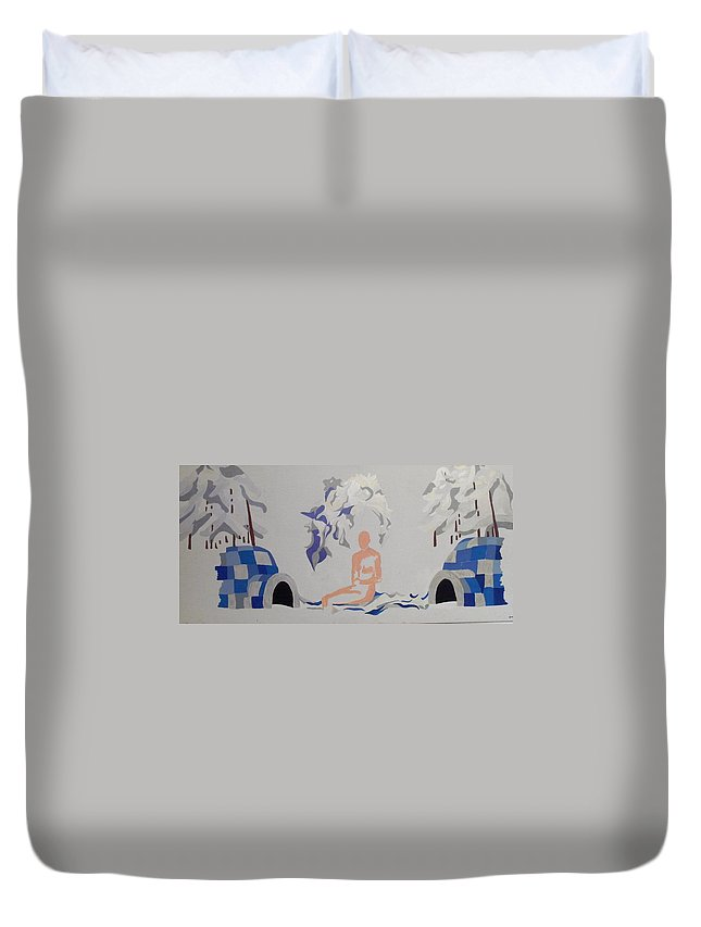 Snow Duvet Cover featuring the painting Snowed by Erika Chamberlin