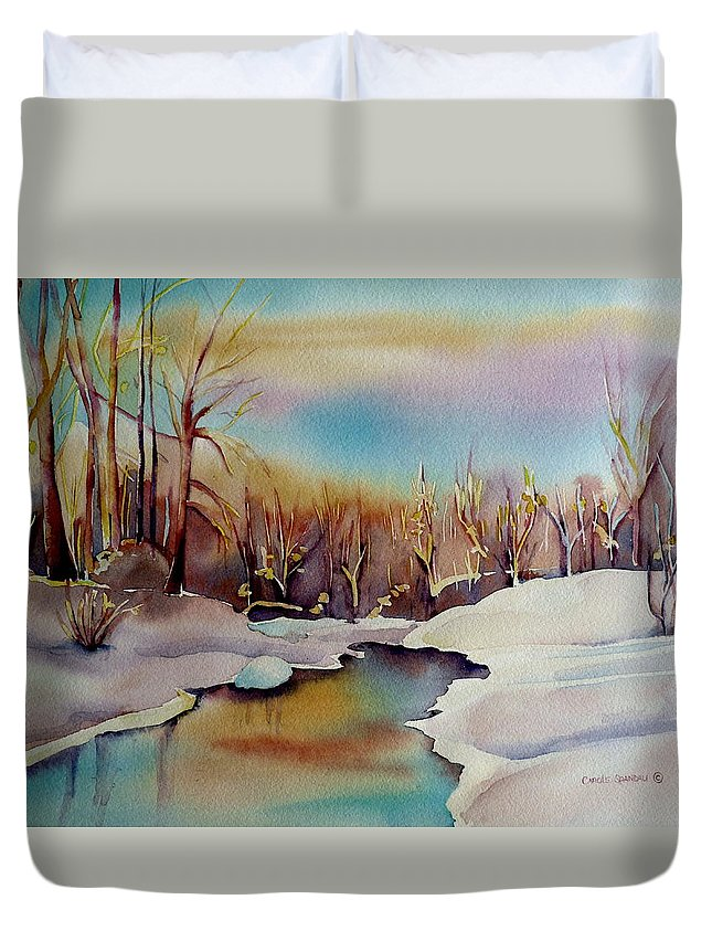 Winterscene Duvet Cover featuring the painting Snowfall by Carole Spandau