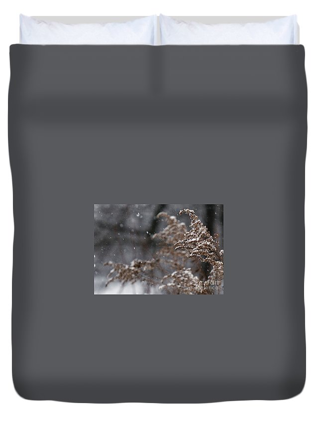 Winter Duvet Cover featuring the photograph Snowfall by Linda Shafer