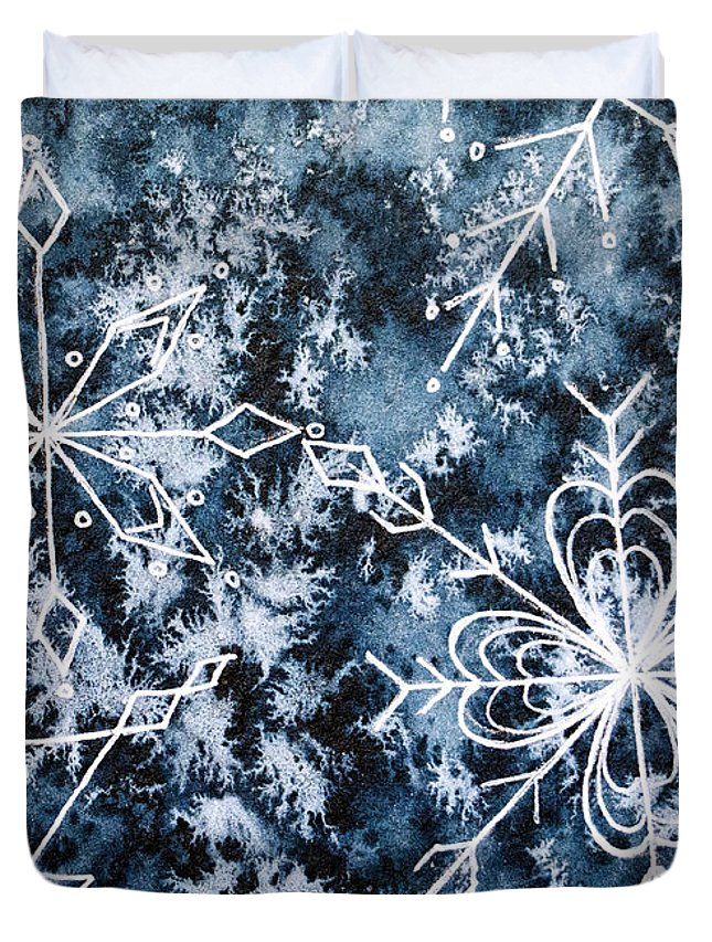 Snowflake Greetings Duvet Cover featuring the painting Snowflake Greetings by Rebecca Davis