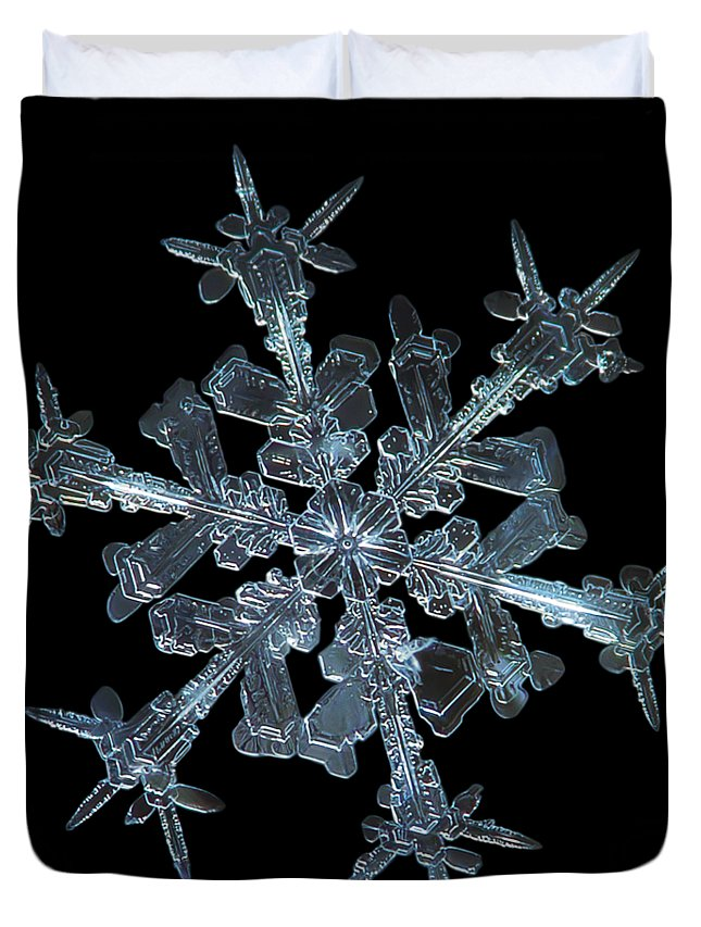 Snowflake Duvet Cover featuring the photograph Snowflake Photo - Starlight by Alexey Kljatov