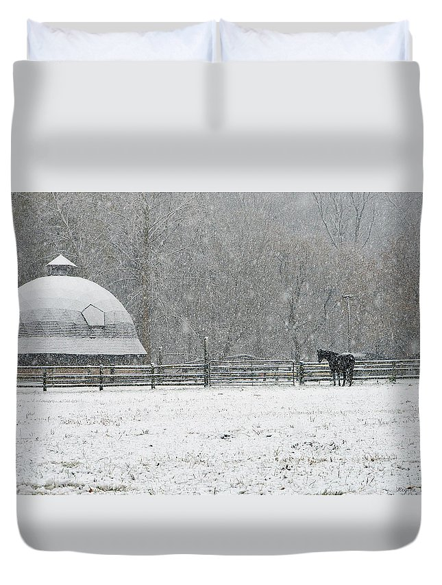 Horses Duvet Cover featuring the photograph Snowing At The Round Barn by Regine Brindle