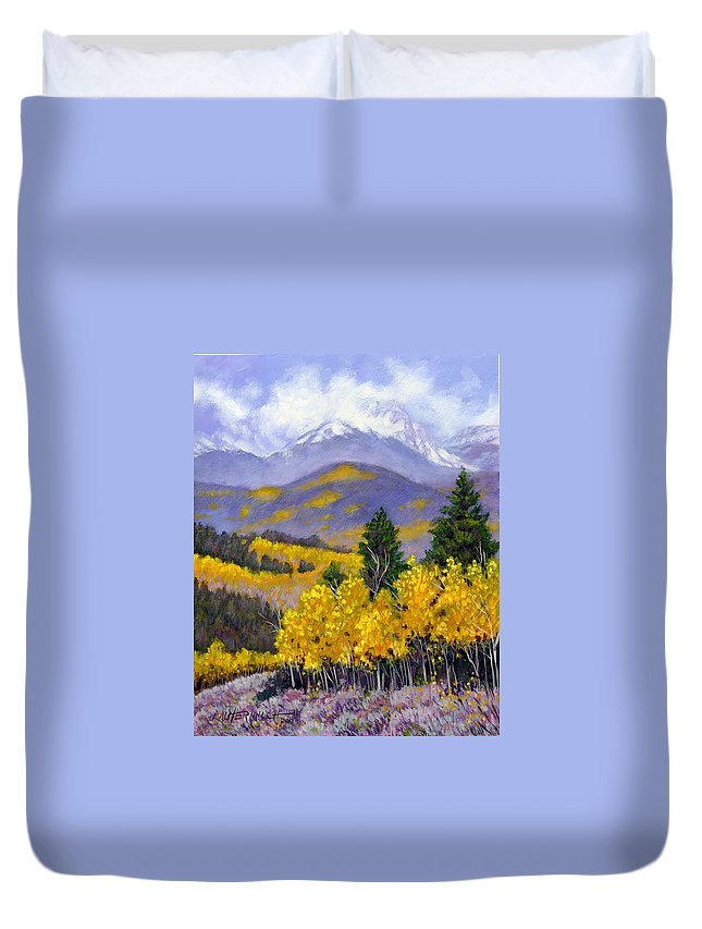 Rocky Mountains Duvet Cover featuring the painting Snowing In The Mountains by John Lautermilch