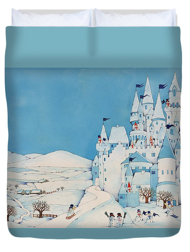 Snowman Castle Duvet Cover featuring the painting Snowman Castle by Christian Kaempf