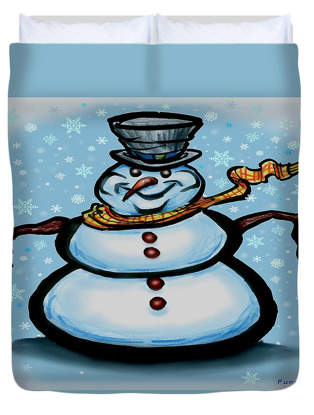 Snowman Duvet Cover featuring the greeting card Snowman by Kevin Middleton