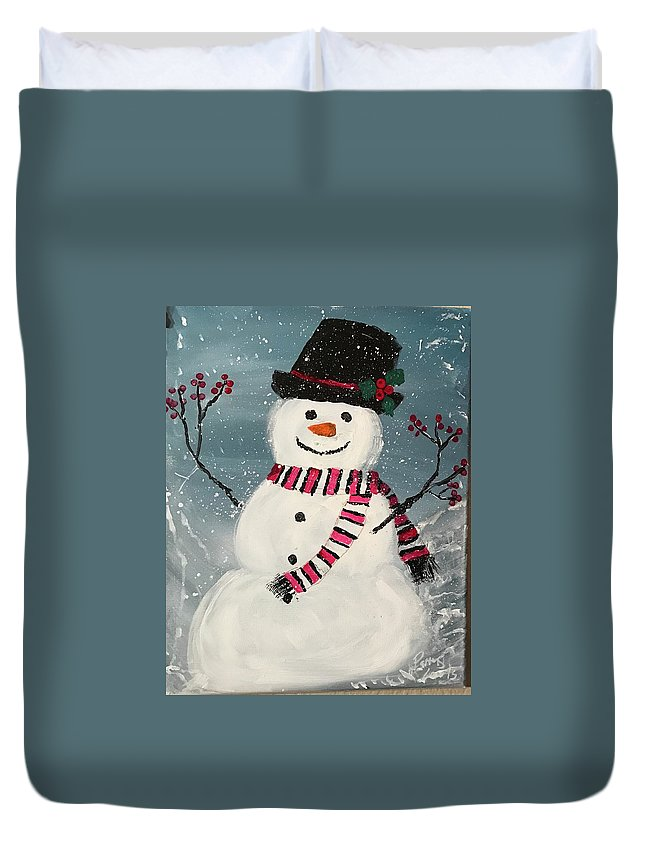 Winter Duvet Cover featuring the painting Snowman by Patricia Lewis