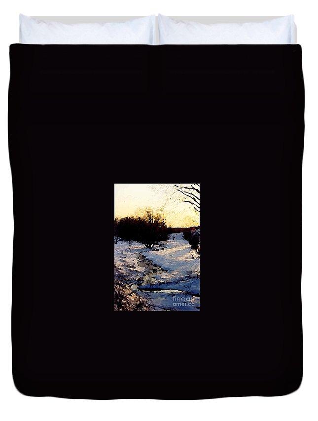 Winter Duvet Cover featuring the digital art Snowmelt by Mendy Pedersen