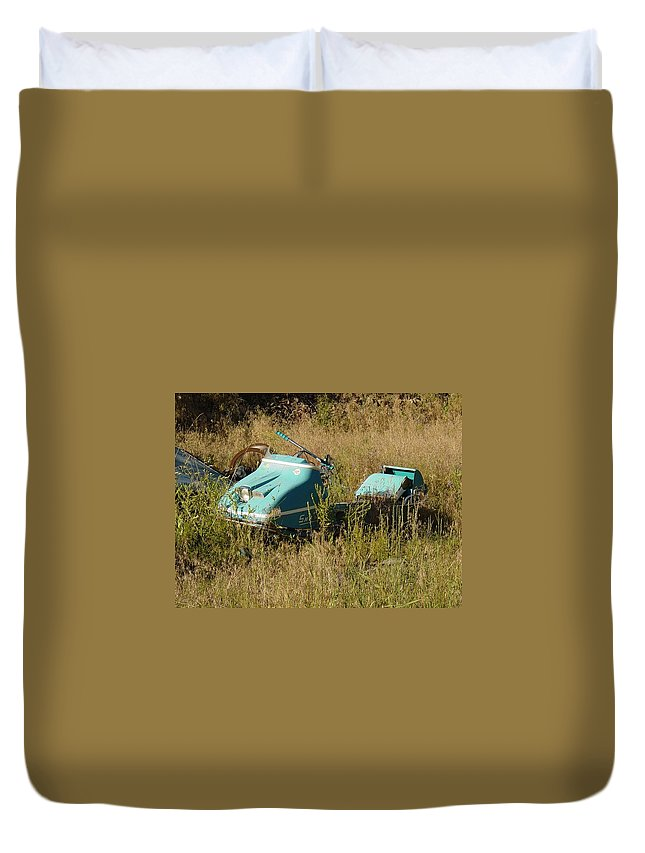 Old Snow Mobile Duvet Cover featuring the photograph Snowmobile by Sara Stevenson