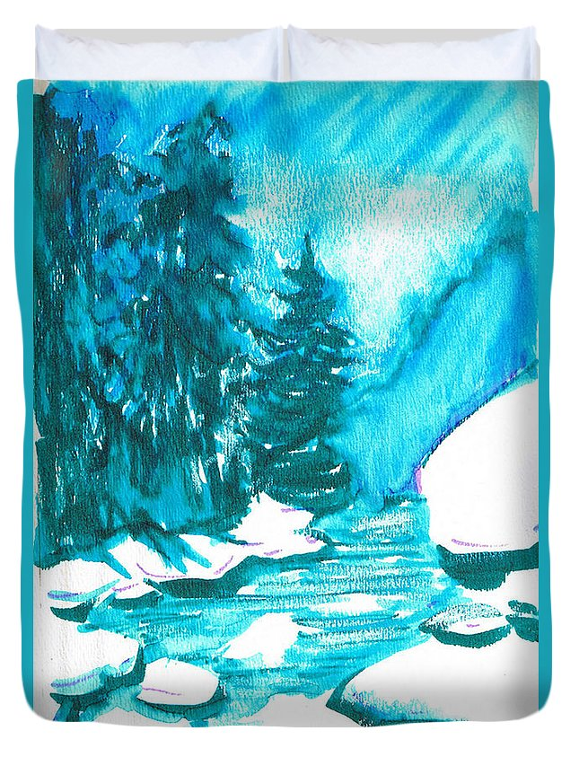 Chilling Duvet Cover featuring the mixed media Snowy Creek Banks by Seth Weaver