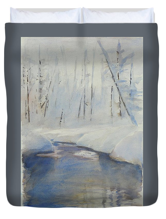 Winter Scene Duvet Cover featuring the mixed media Snowy Creek by Harley Harp