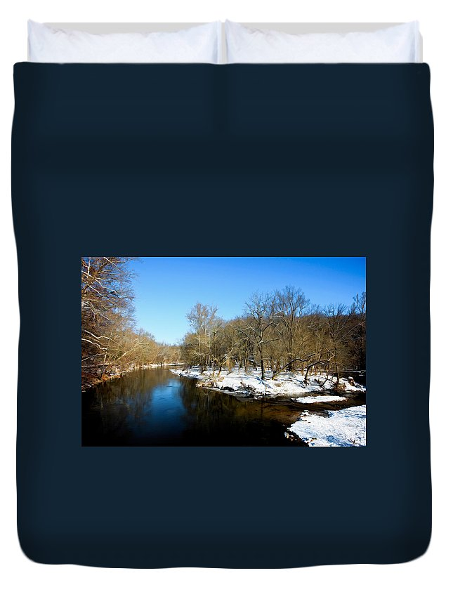 Landscape Duvet Cover featuring the photograph Snowy Creek Morning by William Jobes