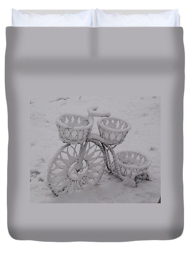 Snow Duvet Cover featuring the photograph Snowy Cycle Wheel by Douglas Barnett