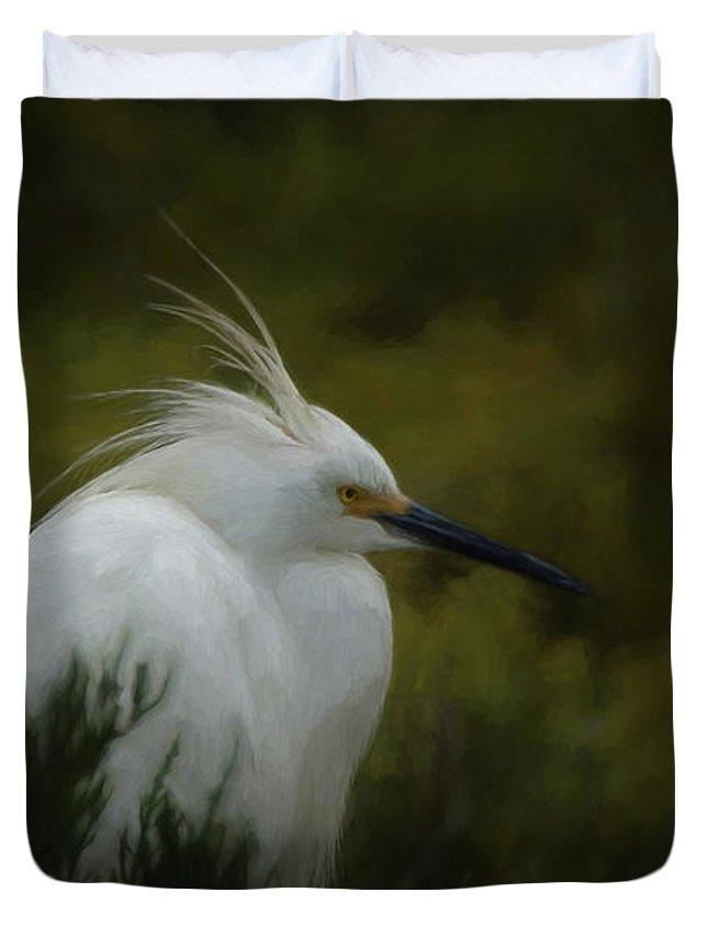 Birds Duvet Cover featuring the digital art Snowy Egret Portrait Da by Ernie Echols