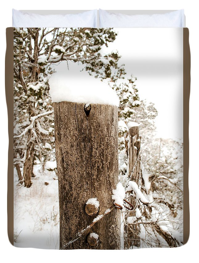 Snow Duvet Cover featuring the photograph Snowy Fence Post by Julie Gropp