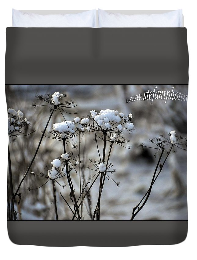 Duvet Cover featuring the photograph Snowy Flowers by Stefan Pettersson